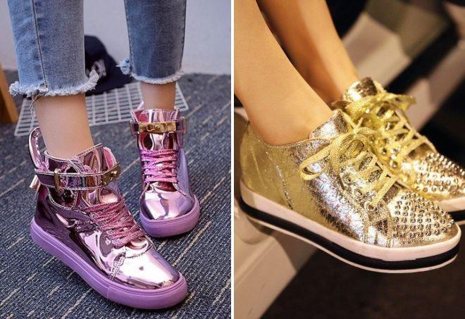 кроссовки блестящие розовые и золото
