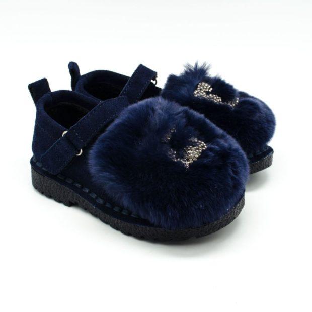 туфли синие с мехом