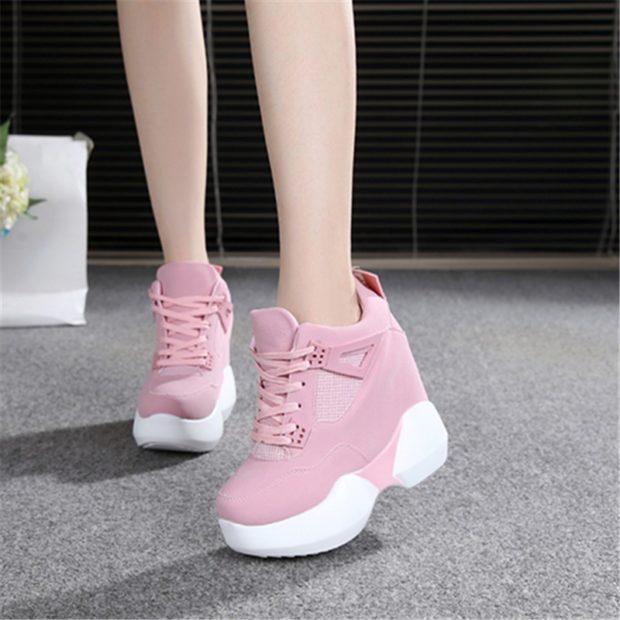 кроссовки толстая подошва розовые с белым