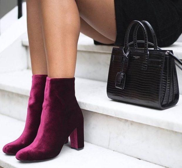 бархатные ботинки бордовые на каблуке