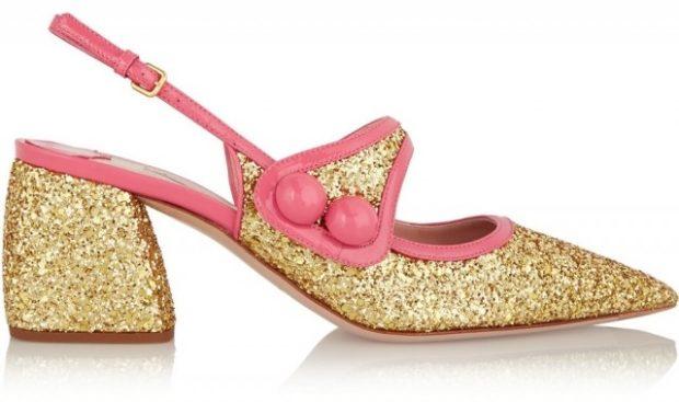 туфли золотые на низком каблуке острый носок