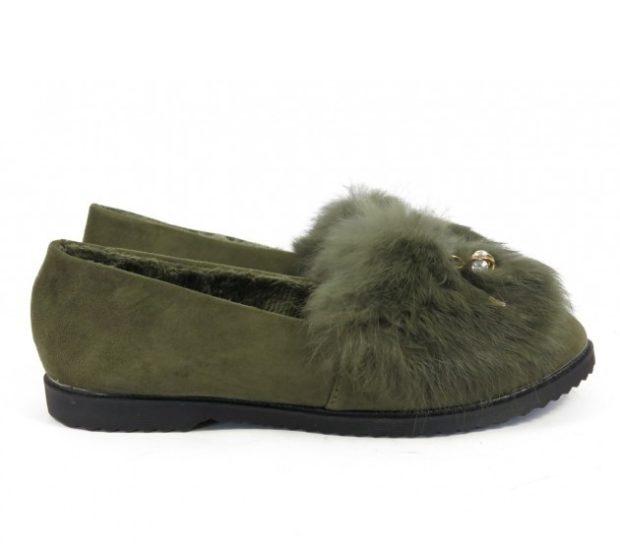 зеленые туфли с мехом