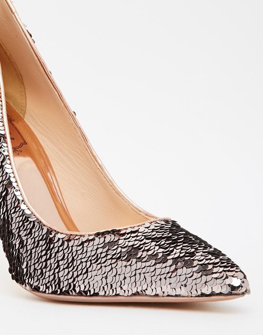 туфли с пайетками лодочки серебро