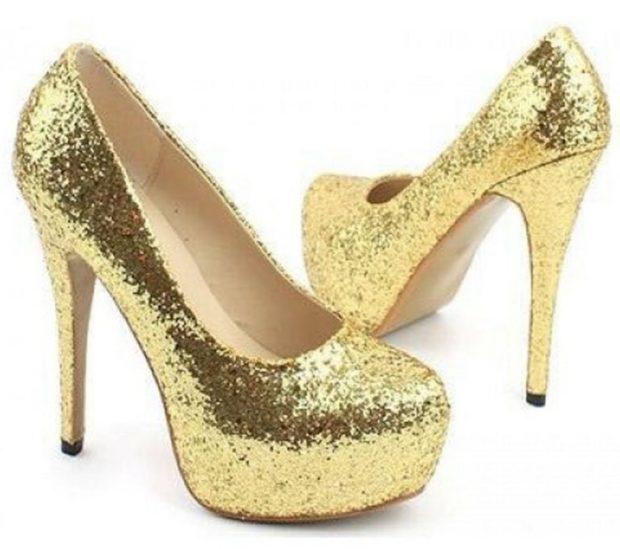 туфли золотые блестки на каблуке