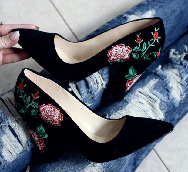 туфли лодочки черные с вышивкой розы