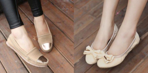 туфли беж с золотом балетки с бантом