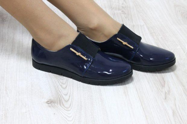 туфли без каблука синие