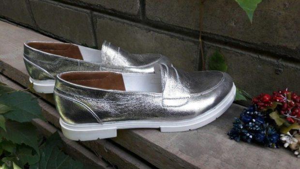 туфли металлика серебро