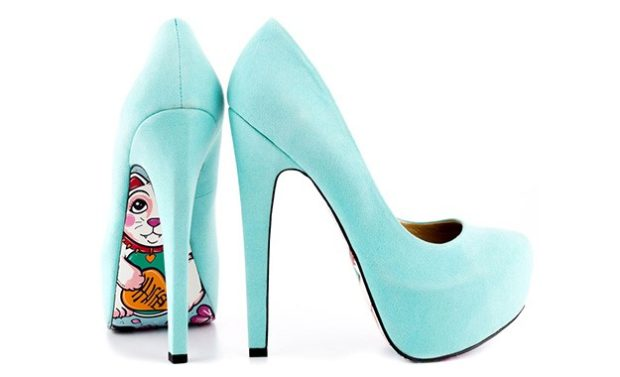 туфли голубые на каблуке