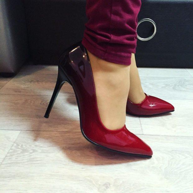 туфли омбре красные с черным
