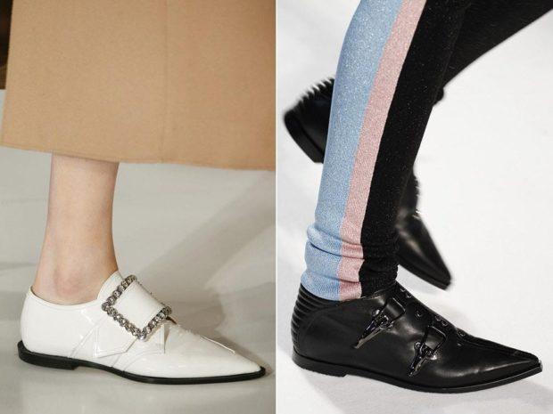 туфли низкий ход черные белые с декором