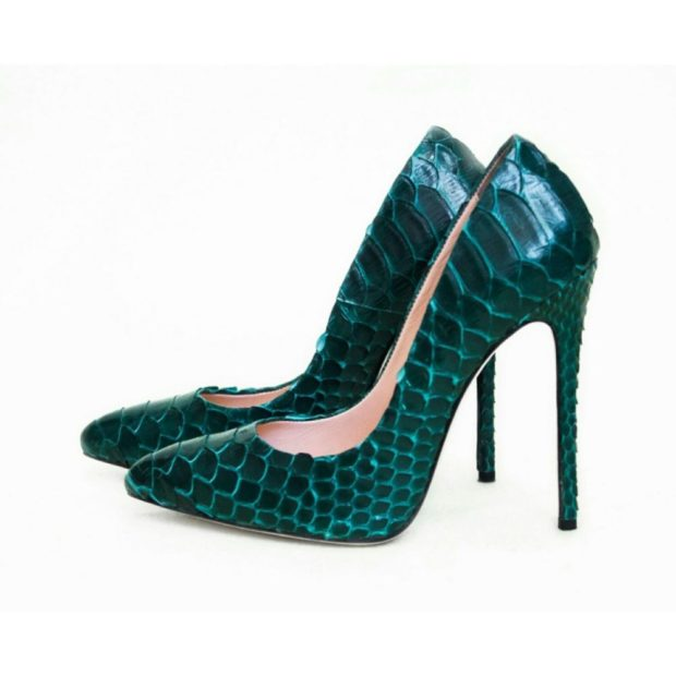 туфли изумрудные рептилия