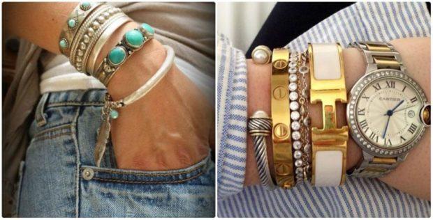модные женские аксессуары: браслеты многослойные часы