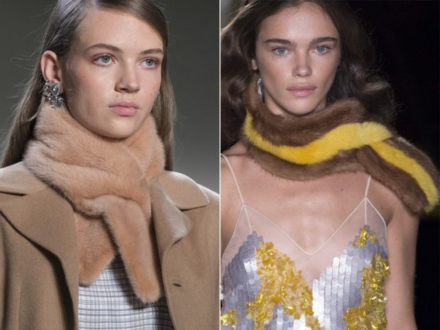 модные женские аксессуары: шарфы меховые