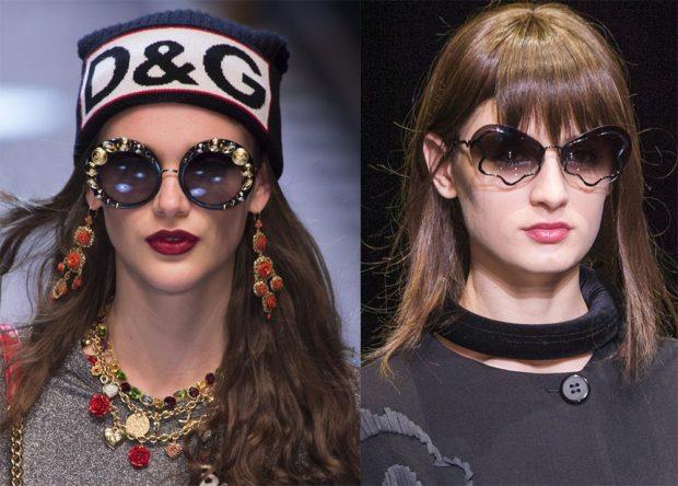 модные аксессуары: шапки зимние очки от солнца интересной формы украшения объемные