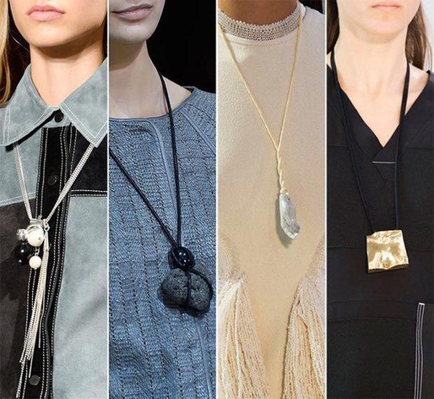 модные женские аксессуары: украшения на шею длинные с кулонами