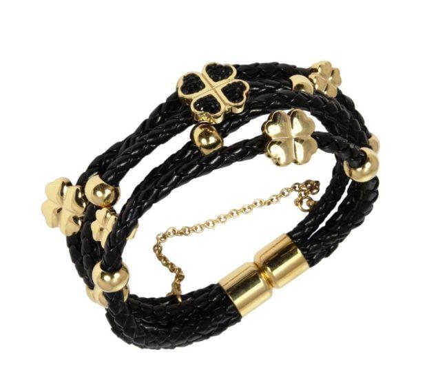модные аксессуары: браслет кожаные плетеный с золотыми вставками