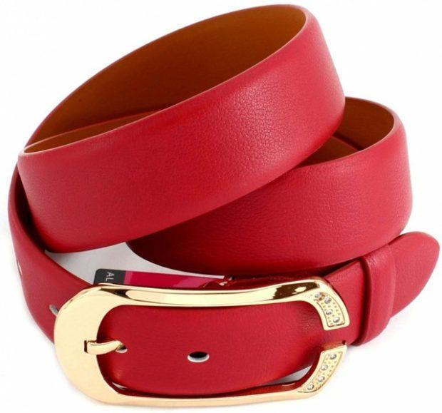 модные аксессуары: ремень кожаный красный