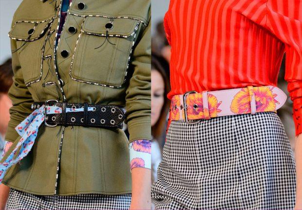 модные аксессуары: ремень тканевый в два ряда заклепки кожаный