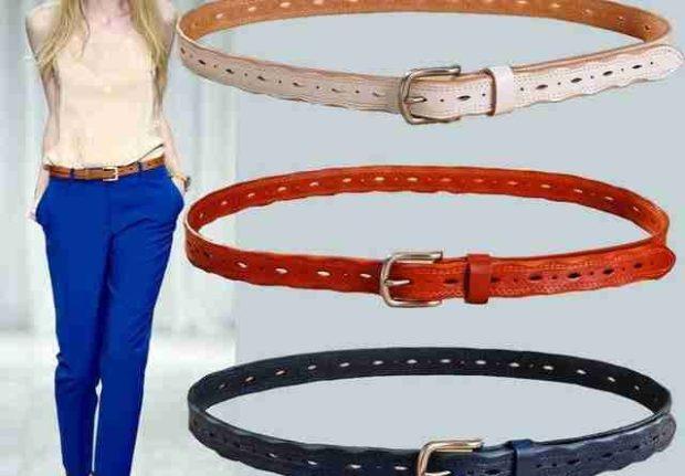 модные аксессуары: ремень кожаный тонкий светлый красный темно-синий