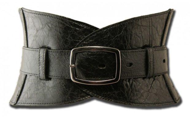 модные женские аксессуары: ремень кожаный широкий черный