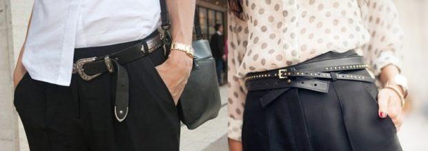 модные женские аксессуары: ремень кожаный черный классика черный
