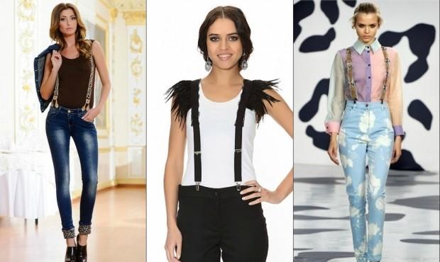 модные аксессуары: подтяжки цветные черные с мехом