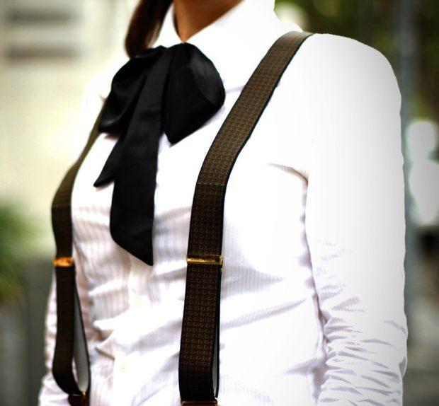 модные аксессуары: подтяжки черные в рисунок