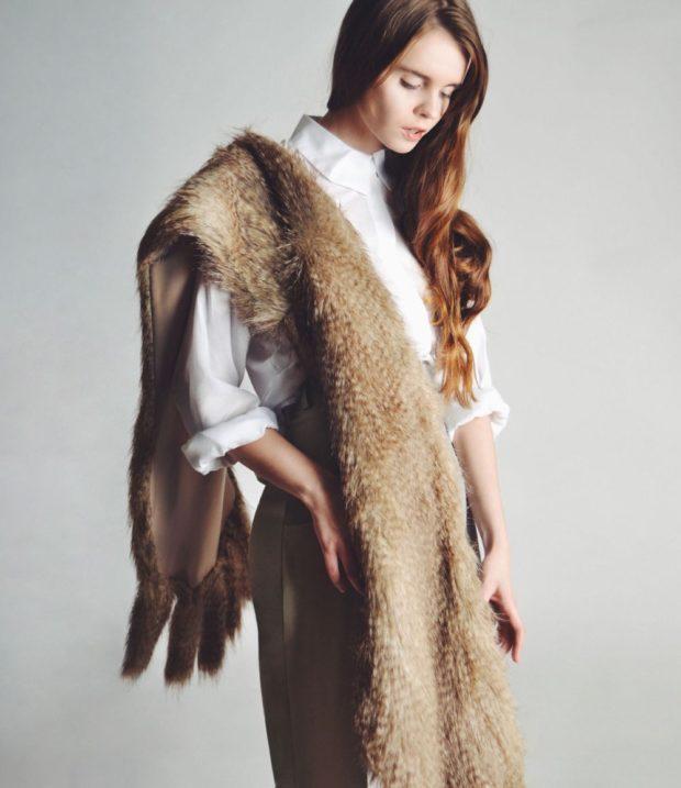 шарф длинный из меха с висюльками