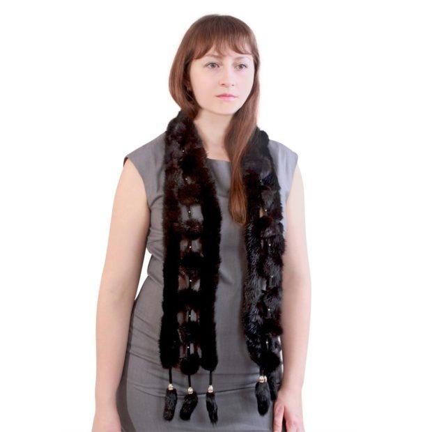 шарф черный из меха