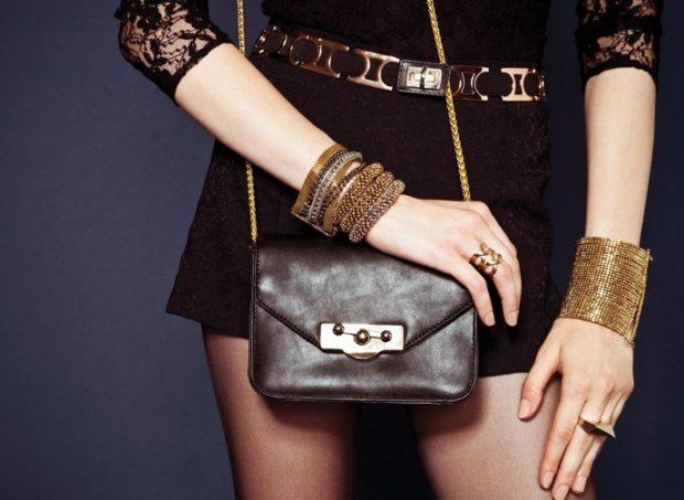 модные женские аксессуары: браслеты массивные ремень металлический сумочка маленькая