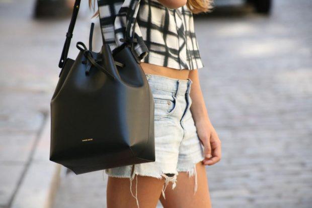 сумка-мешок черная кожаная
