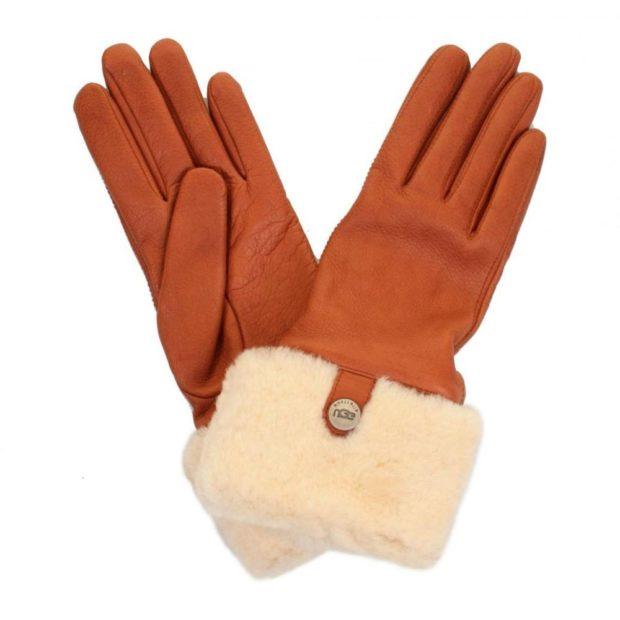 перчатки кожаные оранжевые с мехом белым