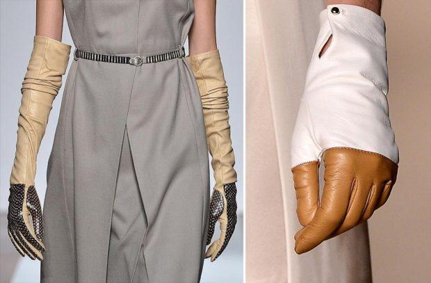 перчатки кожаные высокие светлые с темным белые с коричневым