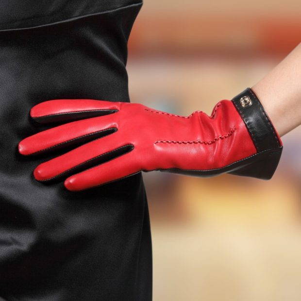 перчатки кожаные красные с черным