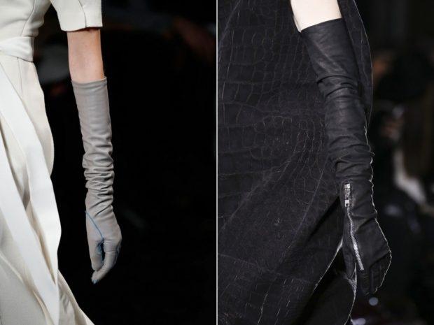 перчатки высокие серые замша черные