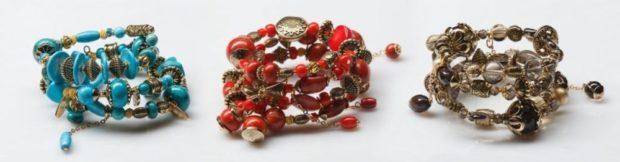 браслеты массивные бирюза красный золотой бусинки камушки