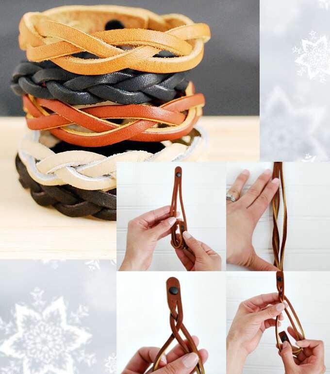 плетеные браслеты кожаные
