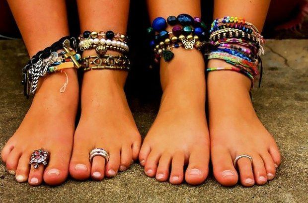 модные браслеты: многослойный на ногу из бусин цепей кожаных нитей
