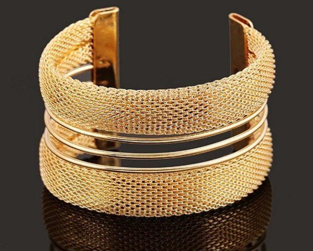 женские браслеты: золотой каффа