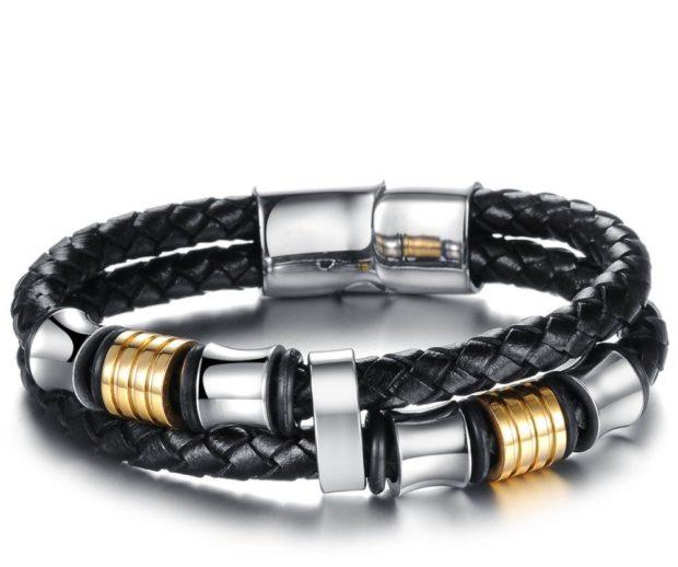 женские браслеты: кожаный с серебристыми и золотыми вставками