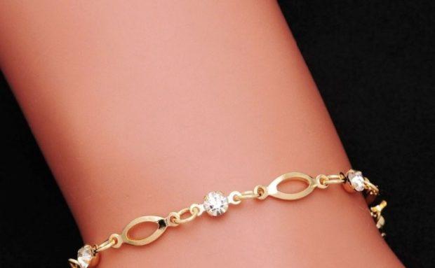 женские браслеты: золотой нежный с камушками
