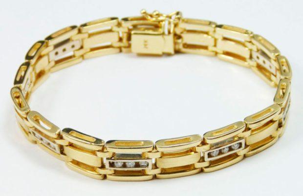 золотой браслет с камушками