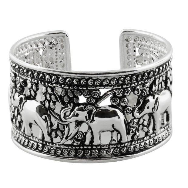 массивный браслет из серебра рисунок слоны