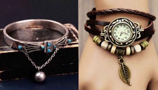 браслеты 2019-2020 года: тонкий металл с декором часы-браслет с бусинками