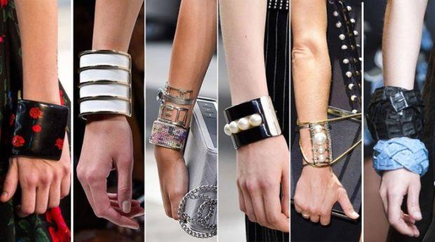 массивные браслеты из разных материалов с камнями бусинками и цепями