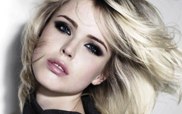 блонд с темными прядями