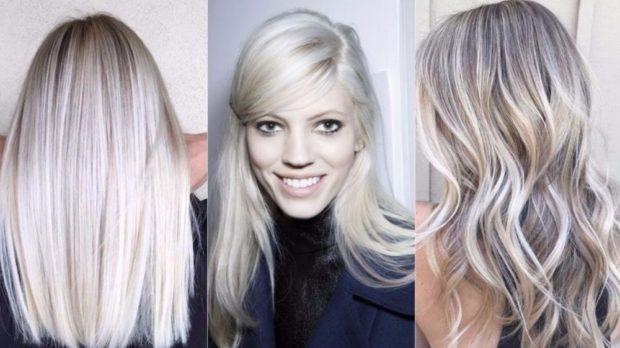 модный цвет волос: платиновый блонд с мягкими переходами в серый