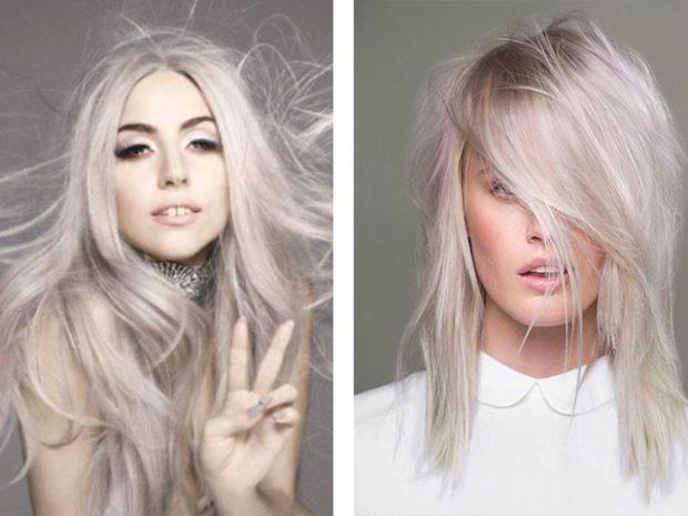 модный цвет волос: платиновый блонд платиновый с розовым отливом