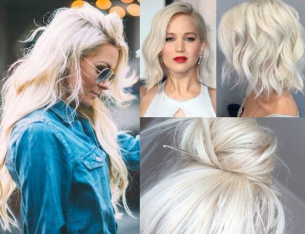 модный цвет волос: платиновый блонд с сединой